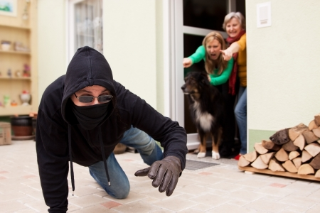 looting: Burglars trys to flee from the crime scene