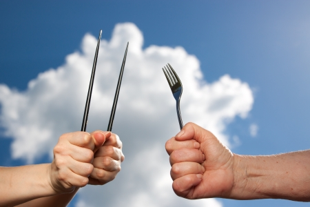 dissimilarity: Different cultures, different cutlery, closeup