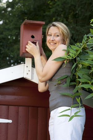 pretty woman controls birdhouse Stock Photo - 21622053