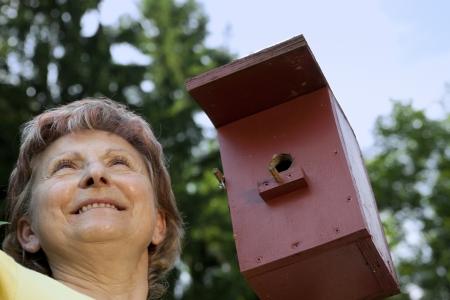 Senior woman pleased with birdhouses Stock Photo - 21622058
