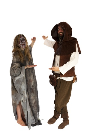 squire: young witch and Squire invite Stock Photo