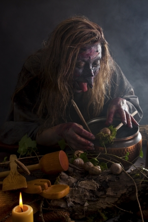 magical equipment: Herbalist brewing up a stinky soup