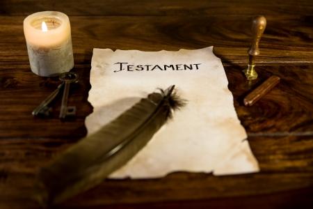oud document: oude document met het woord Testament