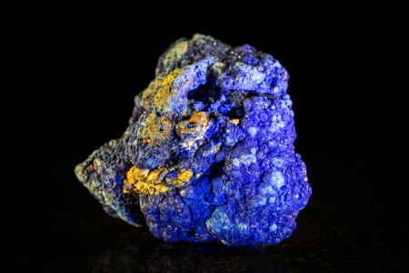 mineral stone: Azurite mineral stone, black background