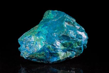 mineral stone: Chrysocolla mineral stone, black background