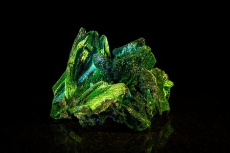 mineral stone: Malachite mineral stone, black background Stock Photo