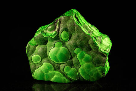 malachite: pile malachite in front of black Stock Photo