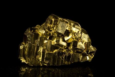 pyrite: pyrite mineral stone, black background Stock Photo