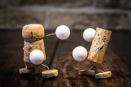 humanly: Concept Box fighting with wine cork figures Stock Photo