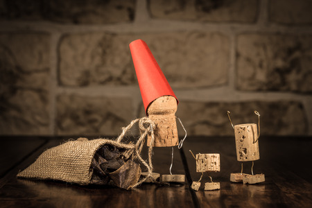 humanly: Concept Santa and children with wine cork figures
