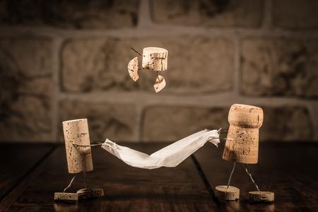 Concept Familie plezier, wijn kurk cijfers