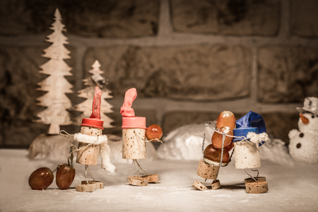 icescape: Concept harvester with wine grapes, wine cork figures