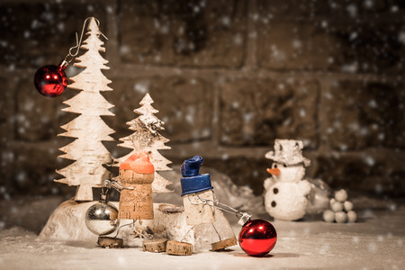 humanly: Concept Christmas Tree decoration, wine cork figures Stock Photo