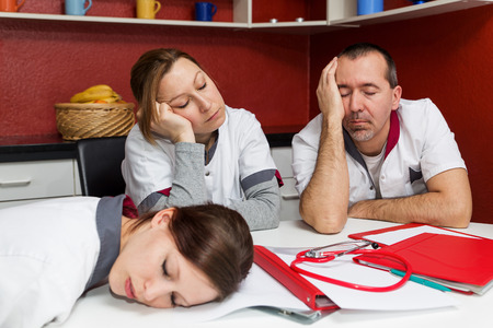 doctor burnout: concept tired nursing staff suffering from burnout