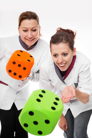 two female nurses concept home care and teamwork photo