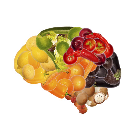 nutrition and health: healthy nutrition concept in brain shaped