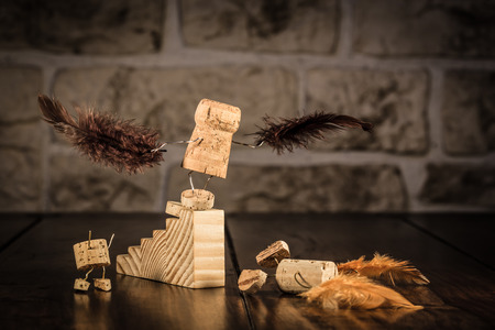 humanly: Concept pre flightl with wine cork figures Stock Photo
