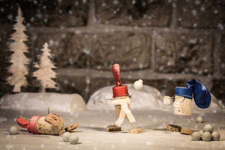 humanly: Concept Fun in the Snwo, wine cork figures