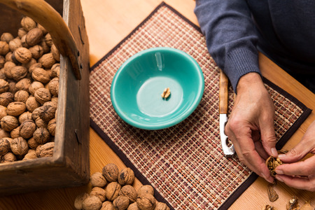 man nuts: concept healthy nutrition like nuts for brain Stock Photo