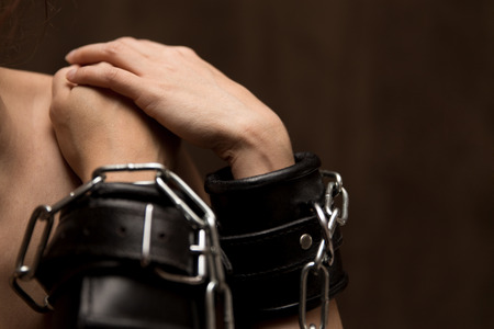 closeup of a tied woman hands photo