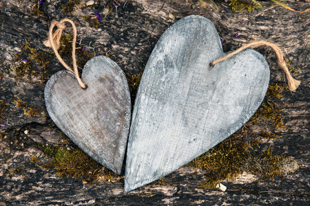 postcard two wooden hearts with rusty moosy  photo
