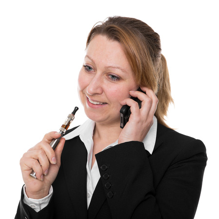 businesswoman with e-cigarette  photo