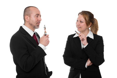 business people with electric cigarettes in front of white photo