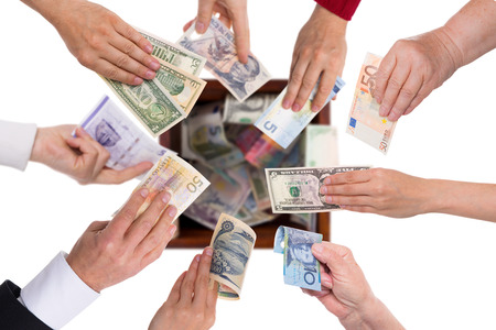 collectives: different currencies concept crowdfunding or global financing Stock Photo