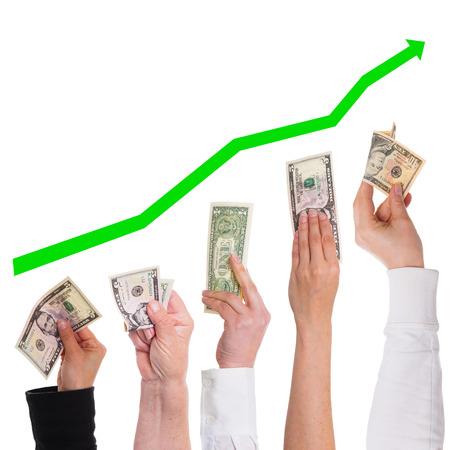 concept dollar krijg meer en meer waardevol op wit wordt geïsoleerd Stockfoto