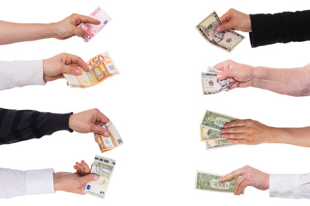 白で隔離されるドルに対してユーロをコンセプト