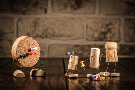 manlike: Concept gaming dart with wine cork figures
