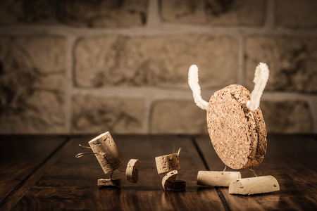 humanly: Concept Children and Monster, wine cork figures