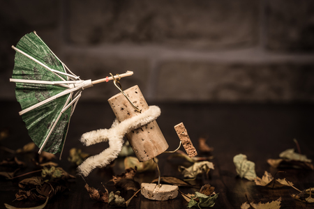 humanly: Concept stormy weather, wine cork figures