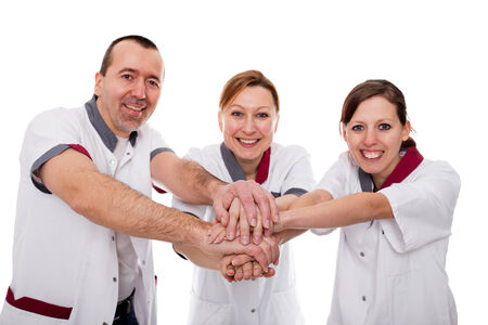 nursing staff demonstrate teamwork and success isolated on white photo
