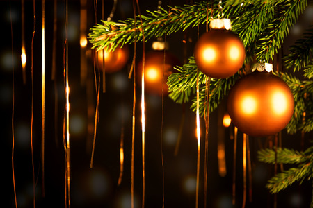 brushwood: christmas background with balls and golden lights Stock Photo