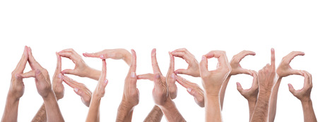 lot of hands form the word arthrosis photo