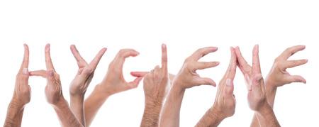Veel handen vormen het woord hygiëne Stockfoto - 31492447