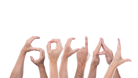 psycho social: lot of hands form the word social