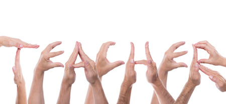 lot of hands form the word teacher photo