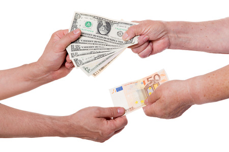bilateral: Concept money exchange dollars for euros Stock Photo