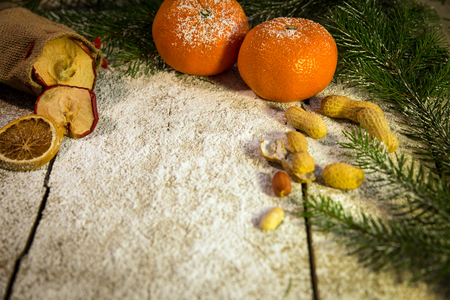 festive xmas background with lot of fruits  photo