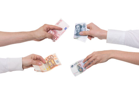 recoger: yuan o renminbi con cambio de concepto euro Foto de archivo