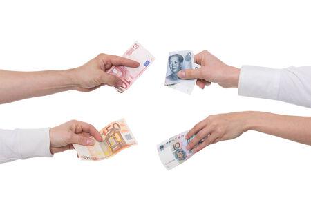 yuan: yuan or renminbi with euro concept exchange