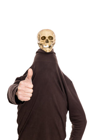 witty: a man with witty skull on his head, thumbs up