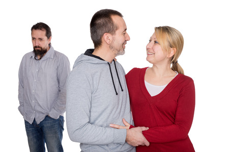autistic: a lonely man behind a lovely couple