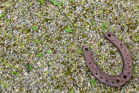 fourleafed: a Horseshoe on gravel ground for good luck