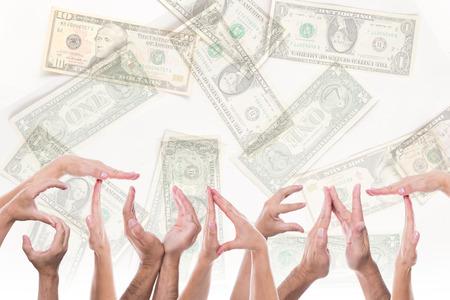 mucho dinero: estudiante palabra delante de un mont�n de dinero