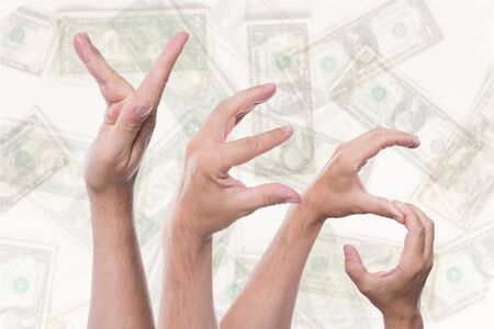 tax refund: Word yes concept tax refund in front of dollars Stock Photo