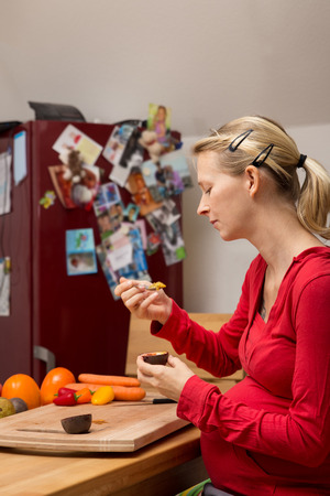 balanced diet: concept: balanced diet about pregnant women with organic food Stock Photo