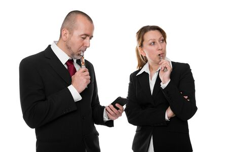 e cigarette: business people with e-cigarette and phone in front of white